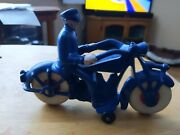 """Vintage Restored Ac Williams Cast Iron Motorcycle 7"""" Police Motorcycle Cop C3"""