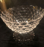 Vintage Fostoria American 14 Crystal Clear Punch Bowl Cube Design With Pedastal