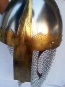 Fully Wearable Viking Helmet With Brass And Chain Mail Larp Sca Sale Armor