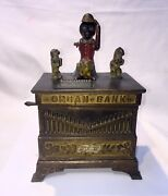 19th C. Cast Iron Mechanical Organ Bank - American Made- Missing One Monkey Hand
