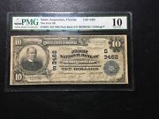 National Bank Note St.augustine Florida Large Pmg10 Vg