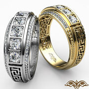 Maze Patterned Graduate Diamond Menand039s Wedding Band In Pave Set Gold Ring 0.75ct.