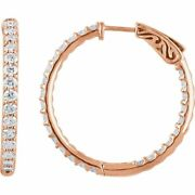2.0ctw 14kt Rose Gold In/out Natural Diamond Hoop Earrings W/free Shipping
