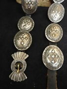 Navajo Vintage Old Pawn Coin Silver Stamped And Repousse Concho Belt A Rare One