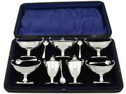 Antique George V Sterling Silver Condiment Set Adams Style Sheffield 1923