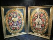 Unusual Pair Antique Hungarian Matyo Embroidery Silk Textile Panels Gesso Frame