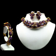 Natural Deluex Set Purple Amethyst 925 Sterling Silver 14k Gold Plated