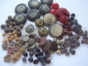 Job Lot Quality Mixed Vintage Antique Buttons Cut Steel Austrian Tinies Glass...