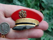 Vintage Military Red Hat Pin - Us Army Officer Badge - Wwii Insignia