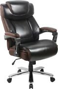 Big And Tall 500 Lb Capacity Brown Leather Executive Office Chair Extra Wide Seat