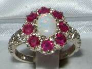 Solid 18ct White Gold Natural Opal And Ruby Womens Cluster Ring - Sizes J To Z