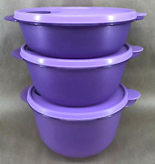Tupperware Crystalwave 3 Pc Microwave Safe Bowls And Seals Set Rare Purple New