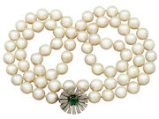 Vintage Single Strand Pearl And Emerald 18k White Gold Necklace