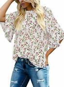 Womenand039s Casual Blouse Half Bell Sleeve Crewneck Keyhole Tunic Top Shirt