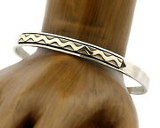 Navajo Bracelet .925 Silver And 14k Solid Gold Mm Rogers And Tas Cuff C.80and039s