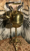 Antique Moroccan Brass Tea Kettle Pot On Stand 19th Century Style Solid Brass