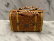 French Antique Doll Fashion Miniature Wicker Suitcase Travel Bag