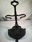 Victorian Antique Cast Iron Wood Stove Tool Set Holder Sea Shell Style