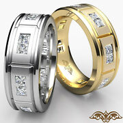 Channel Setting Matte Menand039s Diamond Eternity Wedding Band Gold Ring 1.44 Ct.