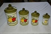 4 Pc. Vintage 1970and039s Avocado Green Round Ceramic Canister Set Apples Pears Euc