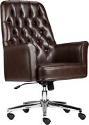 Mid-back Traditional Tufted Brown Soft Leather Executive Office Chair With Arms