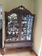 Antique Glass China Cabinet.andnbsp Painted Chinese Black In Style Of Period.andnbspandnbsp