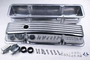 58-86 Sbc Chevy 327 350 400 Polished Aluminum Tall Retro Finned Valve Covers