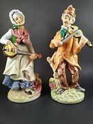 Vintage Artmark Figurines Original Made In Japan Ma And Pa Playing Violin Mint 11