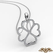 Four Leaf Clover Women Diamond Pendant Necklace 18 Inch Rolo Gold Chain 0.60ct