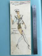 Russian Ussr Circus/theatre/ballet Costume Watercolor Sketch Painting 80and039s 145