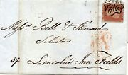 S.g. 8 One Penny Red With Number Nine In Maltese Cross On Cover To Lincolns Inn