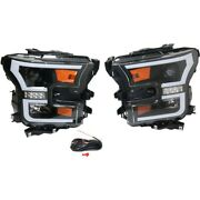 Headlight For 2015-2017 Ford F-150 Left And Right Pair Black