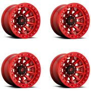 Set 4 17 Fuel D113 Covert Beadlock Offroad Only 17x9 Candy Red 6x5.5 Rims -15mm