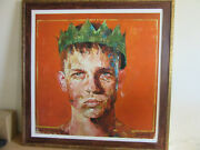 Andrew Salgado Signed Framed Lithograph Print Man With Crown 2015 16/25 41x42