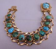 High Quality Antique 14k Solid Yellow Gold Green And Blue Turquoise Stone Bracelet