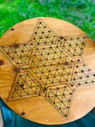 Antique Chinese Checkers Wood Game Board Vintage Folk Art Lrg 22andrdquo Primitive Star