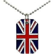 The Olivia Collection Unisex Union Jack Dog Tag Pendant On 18 Chain