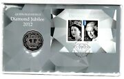 2012 Queen Elizabeth Ii Diamond Jubilee Stamp First Day Cover 5oc Coin Pnc