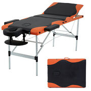 Massage Table Heigh Adjustable 3 Fold W/face Cradle 84and039and039 Portable Aluminium Bed