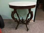Antique Mahogany And Marble Top Table