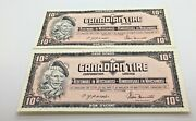 1974 Canadian Tire 10 Cents Notes Pair Consecutive Sequence Ctc-s4-c-cn