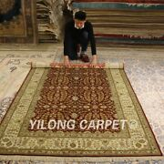 Yilong 5and039x8and039 Red Handmade Silk Area Rugs Pictorial Home Hand Knotted Carpet 014b