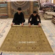 Yilong 5and039x8and039 Golden Handmade Silk Carpet Strip Design Hand Knotted Area Rug 1002