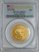 2011-w 10 Lucy Hayes First Strike Spouse Gold Ms69 Pcgs 931844-15