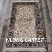 Yilong 3and039x5and039 Great Handmade Silk Carpets Tree Of Life Hand Knotted Rugs L127a