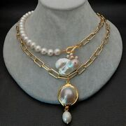 21 2 Rows Cultured Pearl Chain Necklace White Keshi Pearl Mabe Pearl Pendant