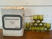 Set Of 7 Vintage Franciscan Madeira Tiffin Yellow Green Juice Tumblers Goblets