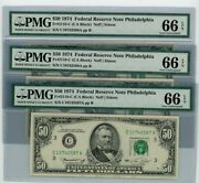 Fr. 2118-c 50 1974 3 Consec. Federal Reserve Note Dc-2562 66 Epq Pmg