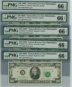 Fr. 2070-c 20 1969c 5 Consec. Federal Reserve Note 66 Epq Pmg Dc-2516