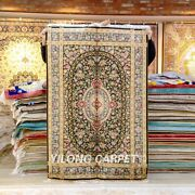 Yilong 4and039x6and039 Flowers Handknotted Silk Carpet Home Decor Indoor Area Rug Z399a